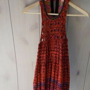 Free People Rare Hearts Tunic Red Crochet Sweater